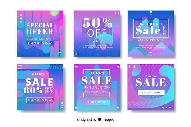 Coleção de postagens de venda de gradiente instagram