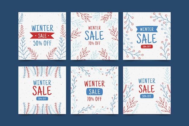 Coleção de postagens de venda de inverno