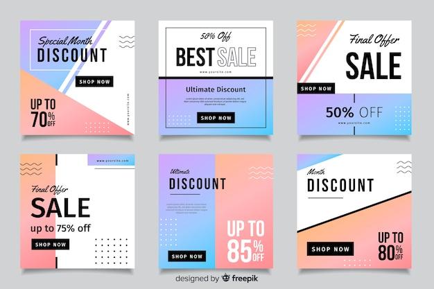 Coleção de postagens de venda de moda gradiente