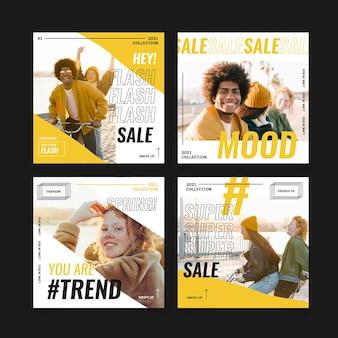 Coleção de postagens de venda de moda