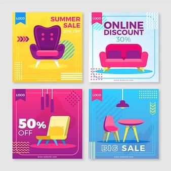Coleção de postagens de venda de móveis