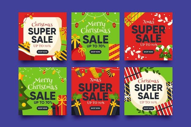 Coleção de postagens de venda de natal