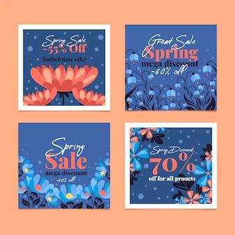 Coleção de postagens de venda de primavera com flores e desconto
