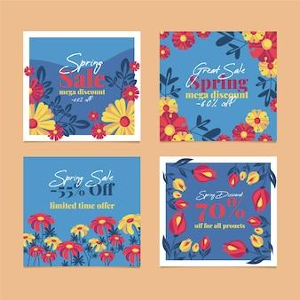 Coleção de postagens de venda de primavera com flores multicoloridas
