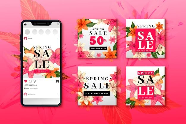 Coleção de postagens de venda de primavera do instagram