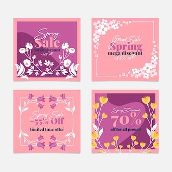 Coleção de postagens de venda de primavera em estilo floral