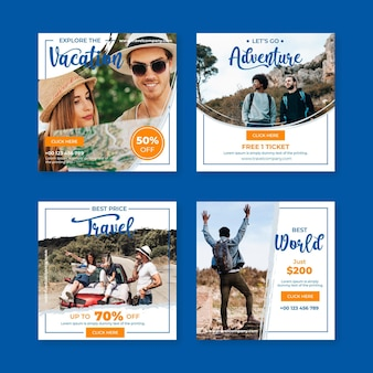 Coleção de postagens de venda de viagens do instagram