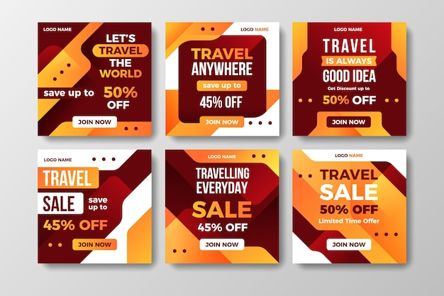 Coleção de postagens de venda de viagens