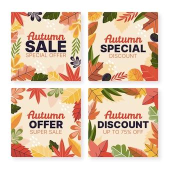 Coleção de postagens de venda do instagram de outono