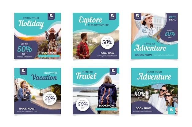 Coleção de postagens de venda em viagem