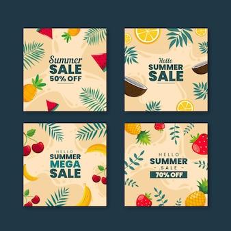 Coleção de postagens de venda feliz verão venda