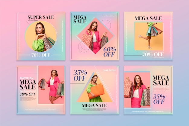 Coleção de postagens de venda instagram gradiente com foto