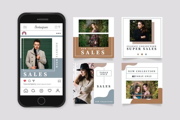 Coleção de postagens de venda orgânica do instagram