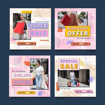 Coleção de postagens de venda plana do instagram com foto