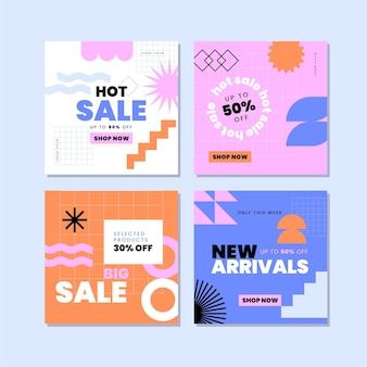 Coleção de postagens de venda plana instagram