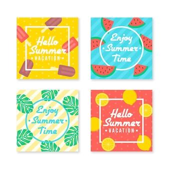 Coleção de postagens de verão feliz do verão