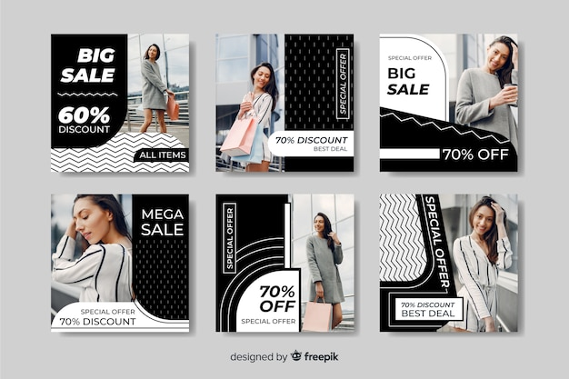 Coleção de postagens diferentes do instagram de venda de moda com descontos diferentes