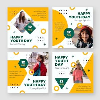 Coleção de postagens do dia da juventude plana internacional com foto
