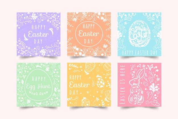 Coleção de postagens do dia da páscoa festiva da primavera