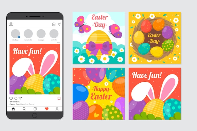 Coleção de postagens do dia da páscoa instagram