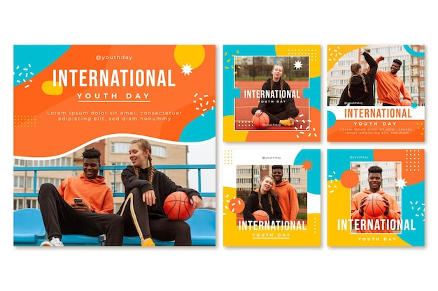 Coleção de postagens do dia internacional da juventude com foto