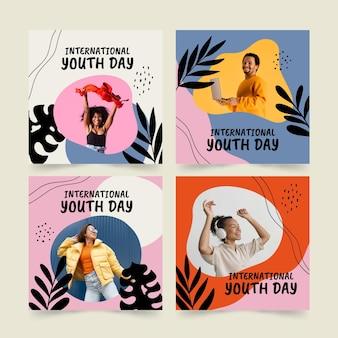 Coleção de postagens do dia internacional da juventude desenhada à mão com foto