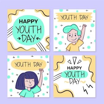 Coleção de postagens do dia internacional da juventude desenhada à mão