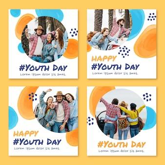 Coleção de postagens do dia internacional da juventude pintada à mão em aquarela com foto