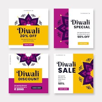 Coleção de postagens do diwali no instagram