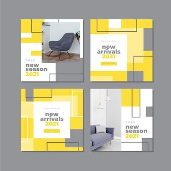 Coleção de postagens do instagram abstrato amarelo e cinza