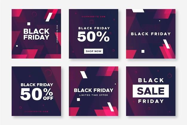 Coleção de postagens do instagram black friday design plano