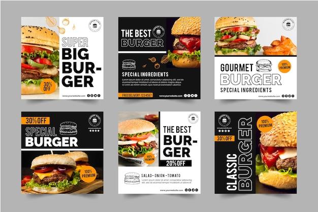 Coleção de postagens do instagram burger