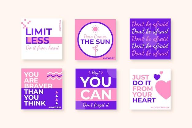 Coleção de postagens do instagram com citações inspiradoras planas
