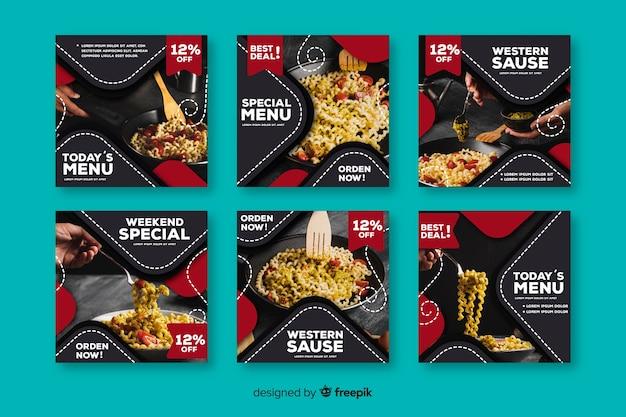 Coleção de postagens do instagram com comida