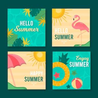 Coleção de postagens do instagram com design de verão