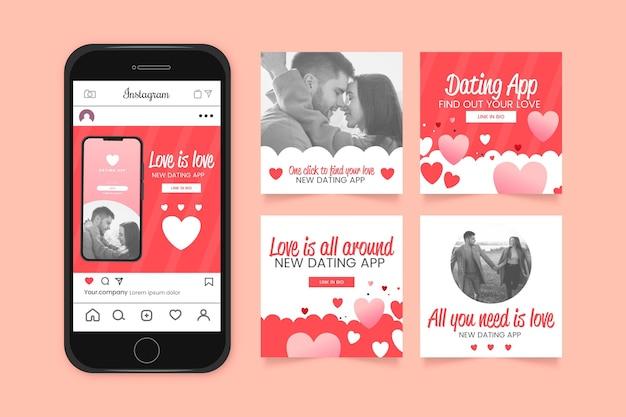 Coleção de postagens do instagram com design plano