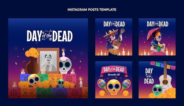 Coleção de postagens do instagram com dia de muertos plano