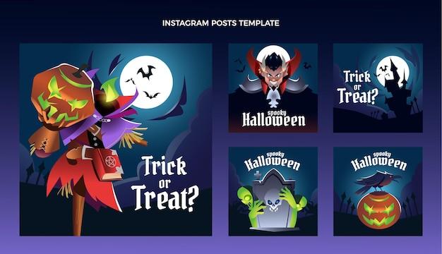 Coleção de postagens do instagram com gradiente de halloween