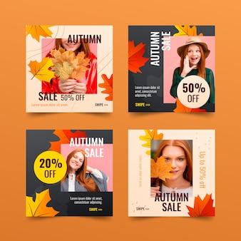 Coleção de postagens do instagram com gradiente de outono com foto