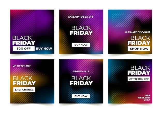 Coleção de postagens do instagram com gradiente preto sexta-feira