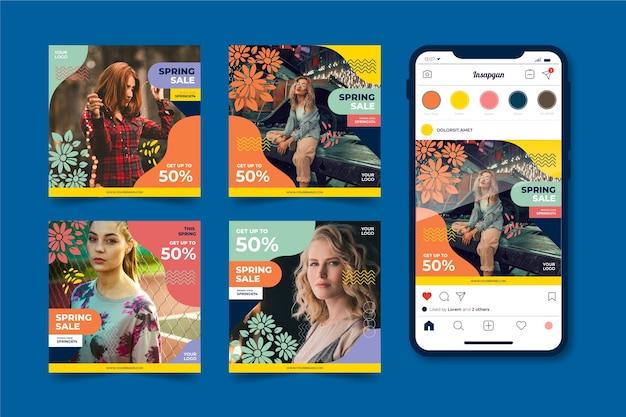 Coleção de postagens do instagram com oferta de venda de primavera