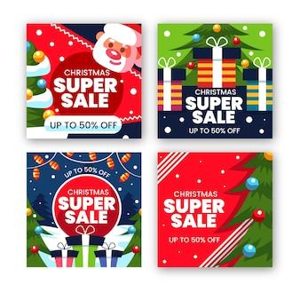 Coleção de postagens do instagram com promoções de natal
