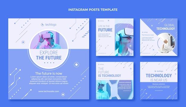 Coleção de postagens do instagram com tecnologia plana e mínima