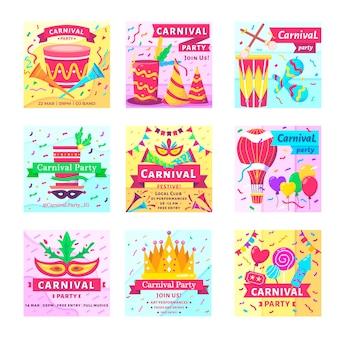 Coleção de postagens do instagram com tema de carnaval
