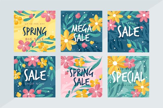Coleção de postagens do instagram com venda de primavera
