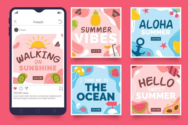 Coleção de postagens do instagram com verão