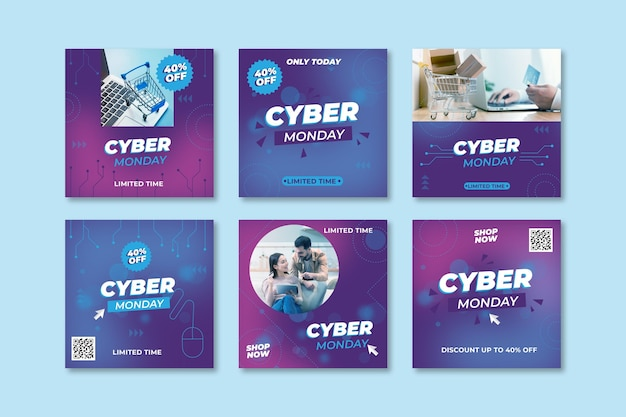Coleção de postagens do instagram da cyber monday