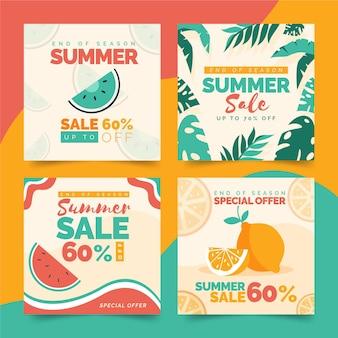 Coleção de postagens do instagram da liquidação de verão