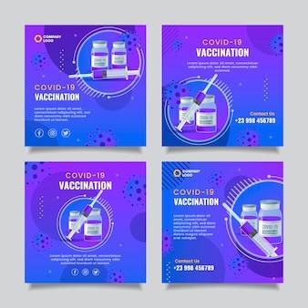Coleção de postagens do instagram da vacina gradiente