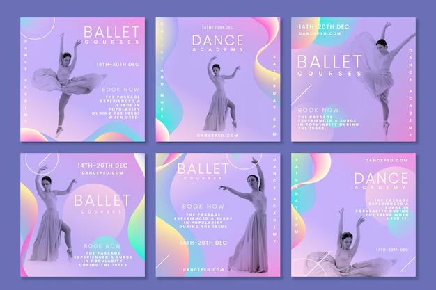 Coleção de postagens do instagram dançando